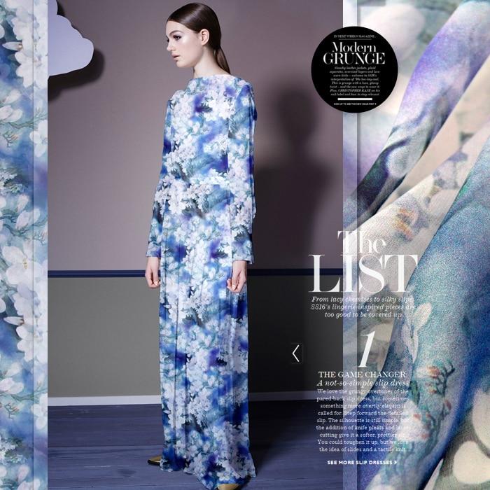 140cm bred 8mm hvit orkidé print blå tynn silk chiffong stoff til - Kunst, håndverk og sying - Bilde 2