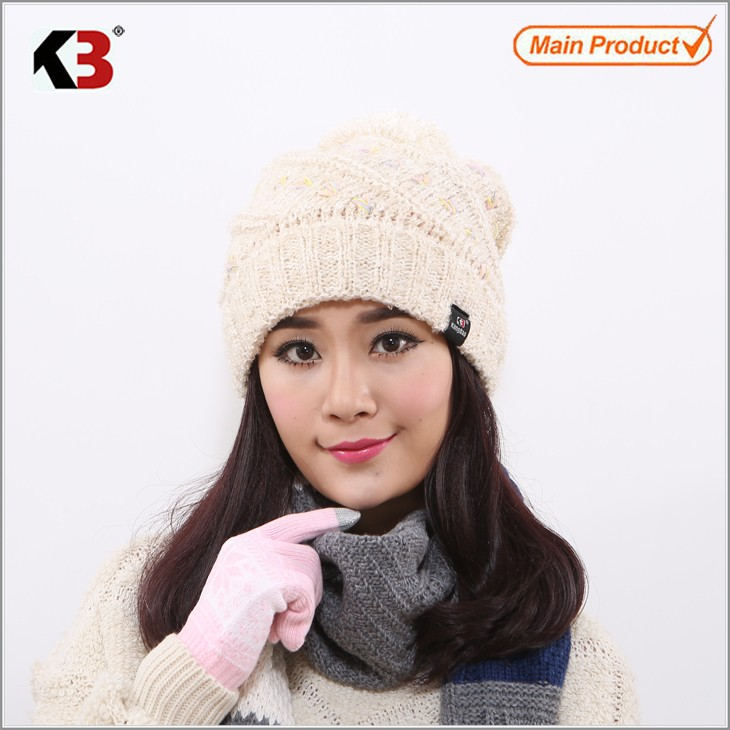 Women Cable Knit Pom Pom Bobble Beanie Hat Fashion Ball Top Winter Knit Hat (1)