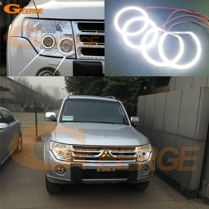 For Mitsubishi pajero 2006 2007 2008 2009 2010 2012 2013 2014 2015 2016 Excellent Ultra bright smd led Angel Eyes Halo Ring kit rear fog lamp spare tire cover tail bumper light fit for mitsubishi pajero shogun v87 v93 v97 2007 2008 2009 2010 2011 2012 2015