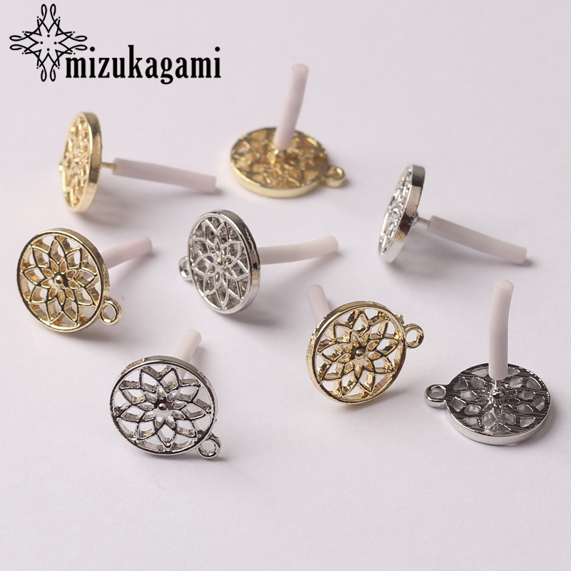 Zinc Alloy Fashion Golden Silver Round Flowers Base Earrings Connector Charms 6pcs/lot DIY Earrings Jewelry Making Accessories