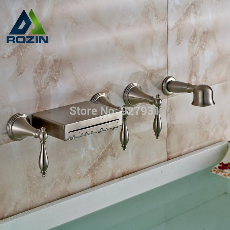 tre manico diffuso 5 pz cascata vasca da bagno rubinetto set parete nichel spazzolato miscelatore vasca