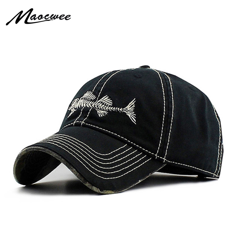 Baseball Caps Fish Bone Cap Embroidery Fishing Club Dad Hats for Men Women 2017 High Quality Washed Cotton Snapback Hats high quality embroidery women baseball cap snapback hip hop casual police caps for men women washed trucker hat dad hats bone