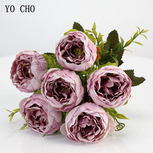YO CHO 6 Heads/Bouquet Peonies Artificial Flowers Silk Peonies Bouquet White Pink Wedding Home Decoration Fake Peony Rose Flower