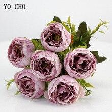 YO CHO 6 หัว/ช่อดอกโบตั๋นประดิษฐ์ดอกไม้ผ้าไหมPeoniesช่อดอกไม้สีขาวสีชมพูงานแต่งงานตกแต่งปลอมPeony Roseดอกไม้