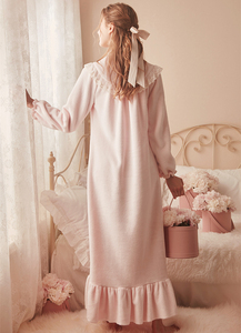 Image 5 - Roze Warme Nachtjapon Winter Nachtkleding Fluwelen Nachtjapon Vrouwen Elegante Nachthemd Lange Homewear Jurk Fluwelen