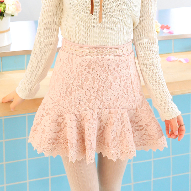 Princesse douce lolita jupe beauté queue section flanelle dentelle mince haut doux court jupes pantalons poches hanche jupe UF30