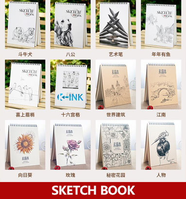 Many Kinds of Patterns For Choice , A4 Spiral Sketch Book , 120 Sheets Blank Inside Page Sketchbook for drawing