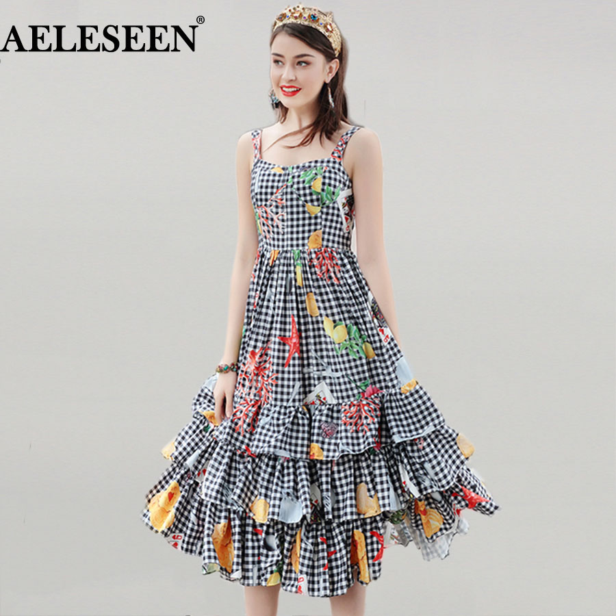 Plaid Elegant Dresses Women Beautiful 2018 Sleeveless Fresh Patchwork Print Square Collar Spaghetti Strap Ruffles Spring Dress