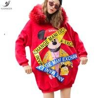 Hoody Coat 2018 Autumn Winter New Big Fur Collar Cartoon Stickers Gold Velvet Thick Loose Loose Long Hoody Women's Coat HJB386
