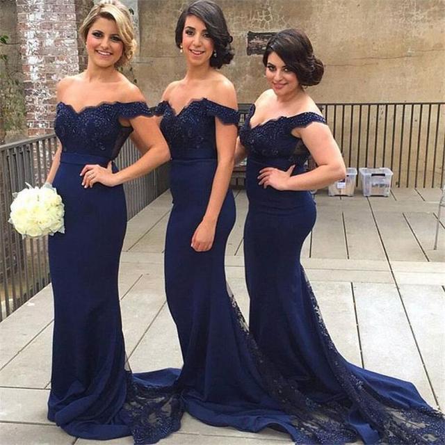 1e31fc752 Brillante azul marino dama de Honor fuera del hombro del Applique encaje  dama de Honor vestidos