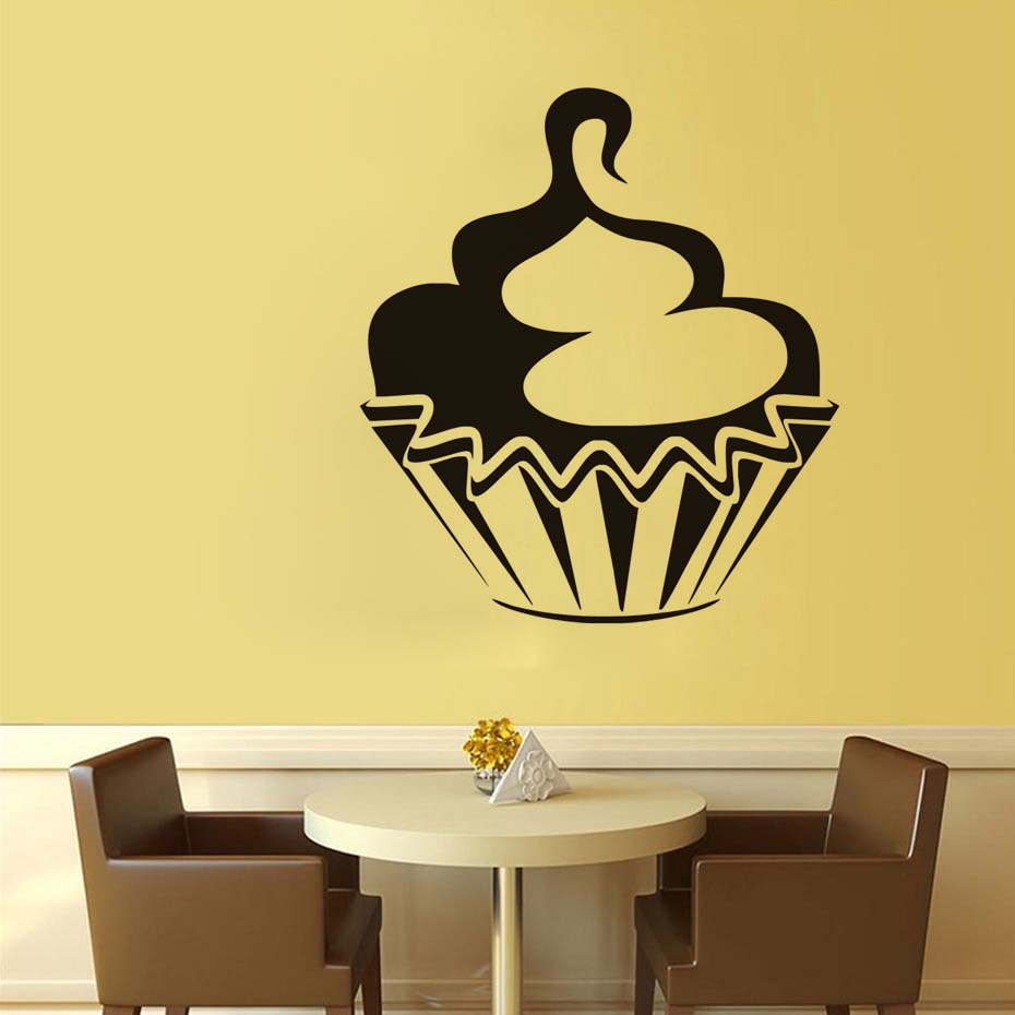 3d Funny Happy Birthday Swirl Cupcake Kitchen Wall Stickers For Kids ...