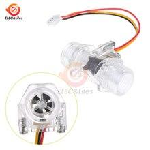 Dc 5 v 12 v dn15 sensor de fluxo de água transparente medidor de fluxo de água medição salão indicador de sensor de fluxo contador g1/2 polegada cobre