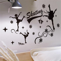Customized Girl Skaters Wall Sticker Vinyl Modern DIY Decor For Living Room Skating Rink Decoration Mural