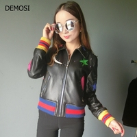 Brand High Quality Fashion Genuine Leather Bomber Women Short Painted Rivet Female Coat Motorcycle Biker Outwear