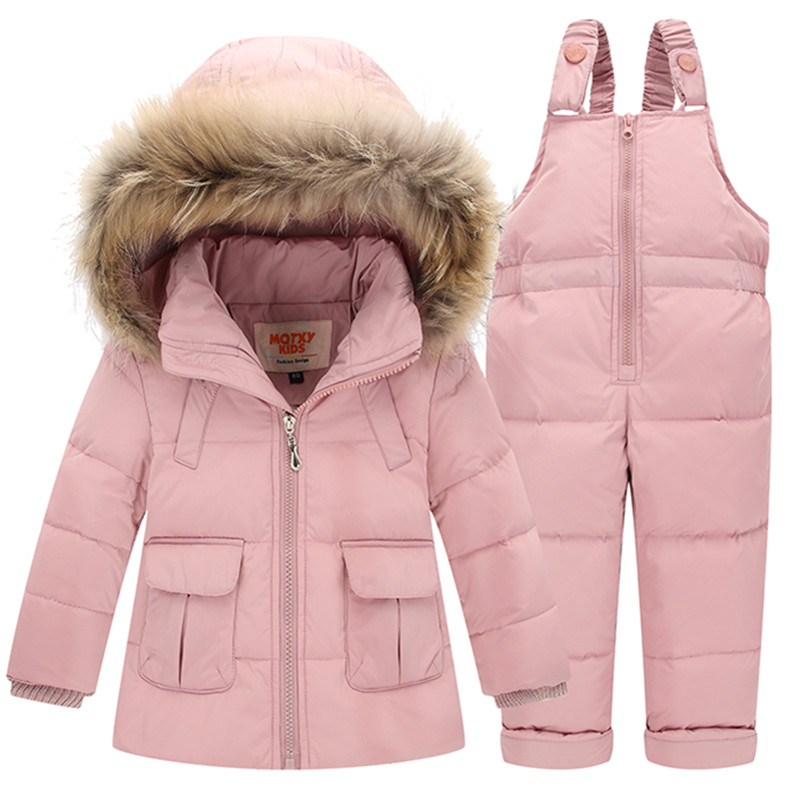 Mioigee 2017 Children Set Baby Boys And Girls Clothing Sets Winter Fur Collar Hoody Down Jacket Trousers Snow Warm Suit 2014 children s clothing baby down coat set large fur collar red male