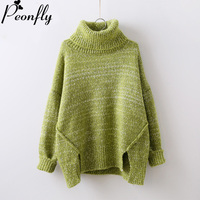 PEONFLY Women Pullover Sweater Turtleneck Sweaters Autumn Winter Knitted Warm Sweater Jumpers Irregular Outerwear Sueter Mujer