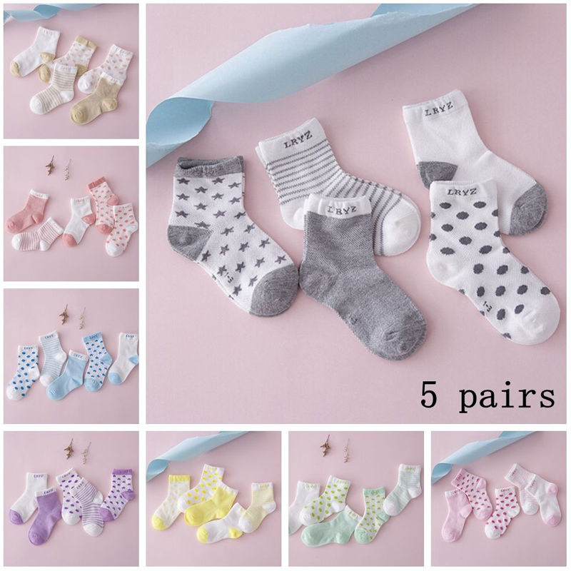 5 Pairs/Set Baby Socks Baby Boy Girl Cotton Printed Striped Socks Newborn Infant Kids Soft Sock Gray Pink Blue Green Orange 0-6M