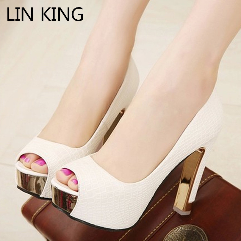 LIN KING New Square Heel Women Pumps Peep ToeSexy Ladies Summer High Heel Shoes Girls Platform Shoes Woman Wedding Party Shoes