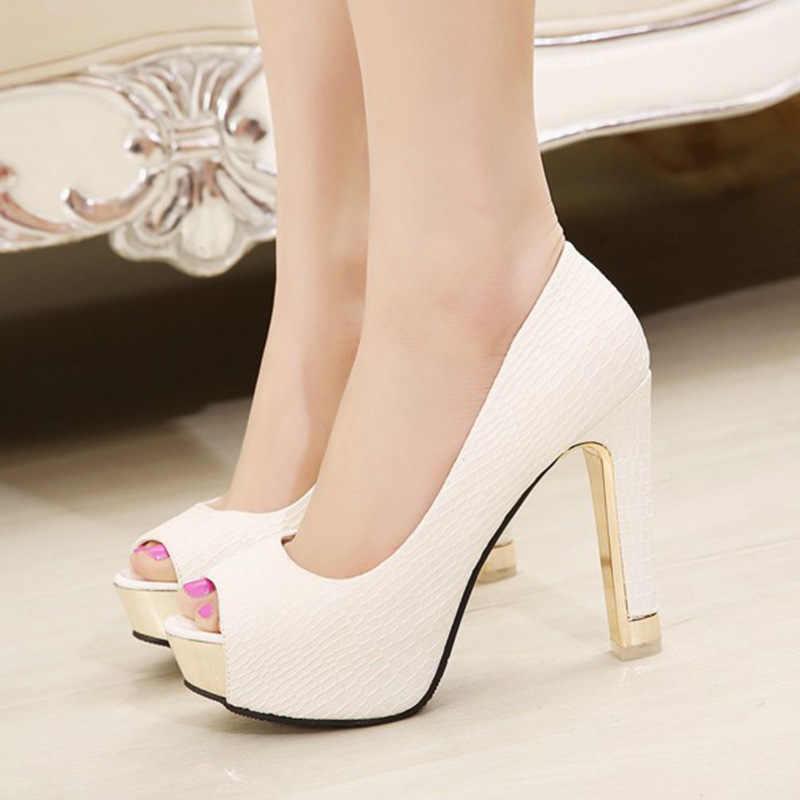 موضة الانزلاق على النساء مضخات منصة عالية الكعب أحذية سيدة اللمحة تو ساحة كعب فستان أحذية مثير الزفاف حذاء زفاف 4.7