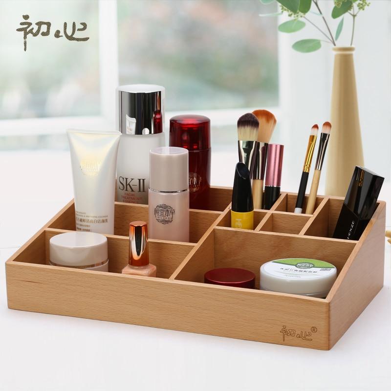 Top Quality Beech Soild Storage Box Wooden Tabletop Makeup