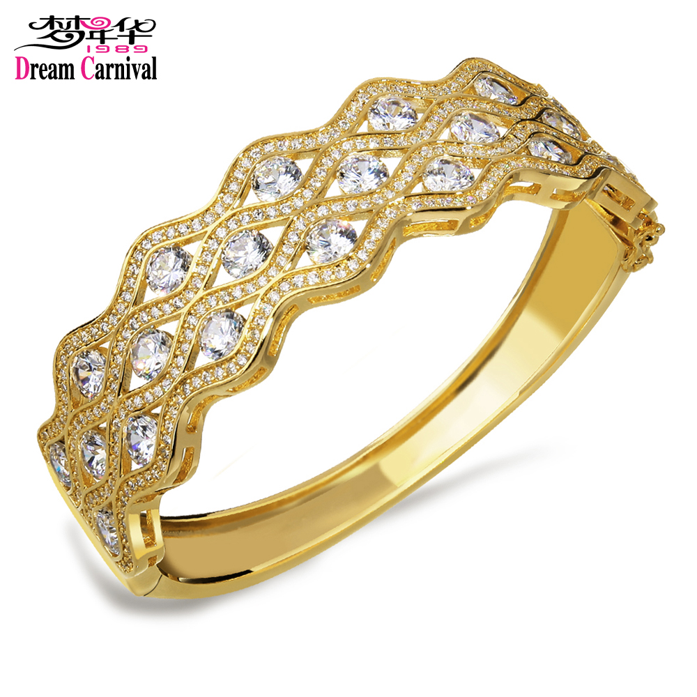 Dreamcarnival 1989 Best Selling Synthetic Cubic Zirconia Woman Bangle Rhodium or Gold-color Bridal Wedding Jewelry SA01190-2.25Dreamcarnival 1989 Best Selling Synthetic Cubic Zirconia Woman Bangle Rhodium or Gold-color Bridal Wedding Jewelry SA01190-2.25