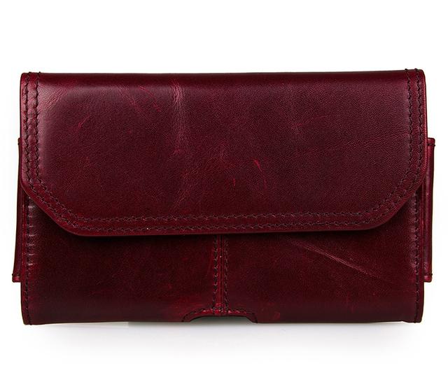 Frete grátis preço de fábrica de couro borgonha cor JMD Vintage bolsa de cintura bolsa # 8088X