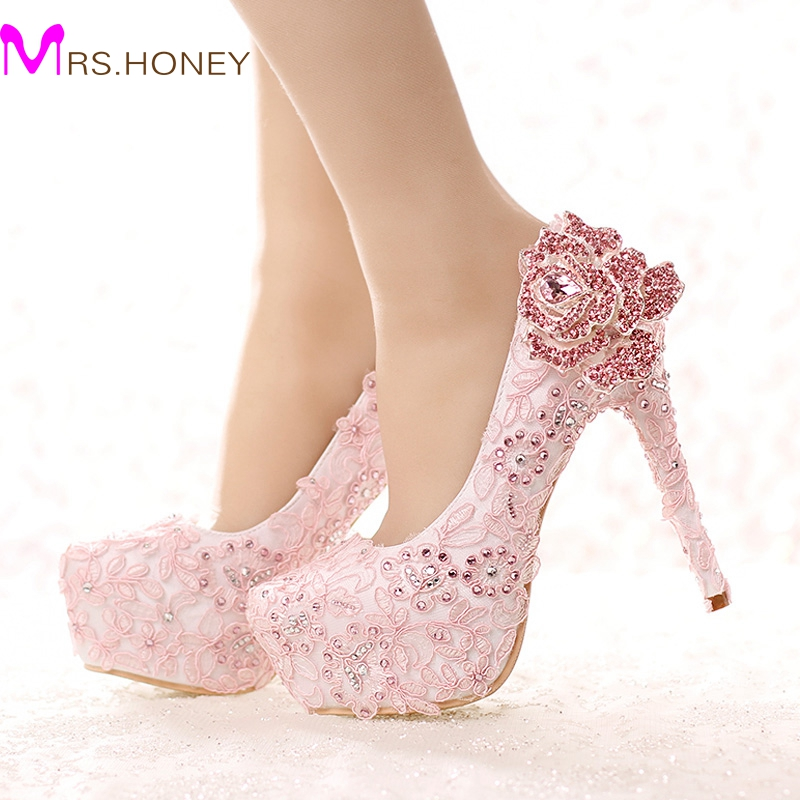 ФОТО Fashion Pink Lace Bride Shoes Rhinestone Rose Flower High Heel Wedding Shoes Platform Round Toe Princess Pumps Prom Shoes