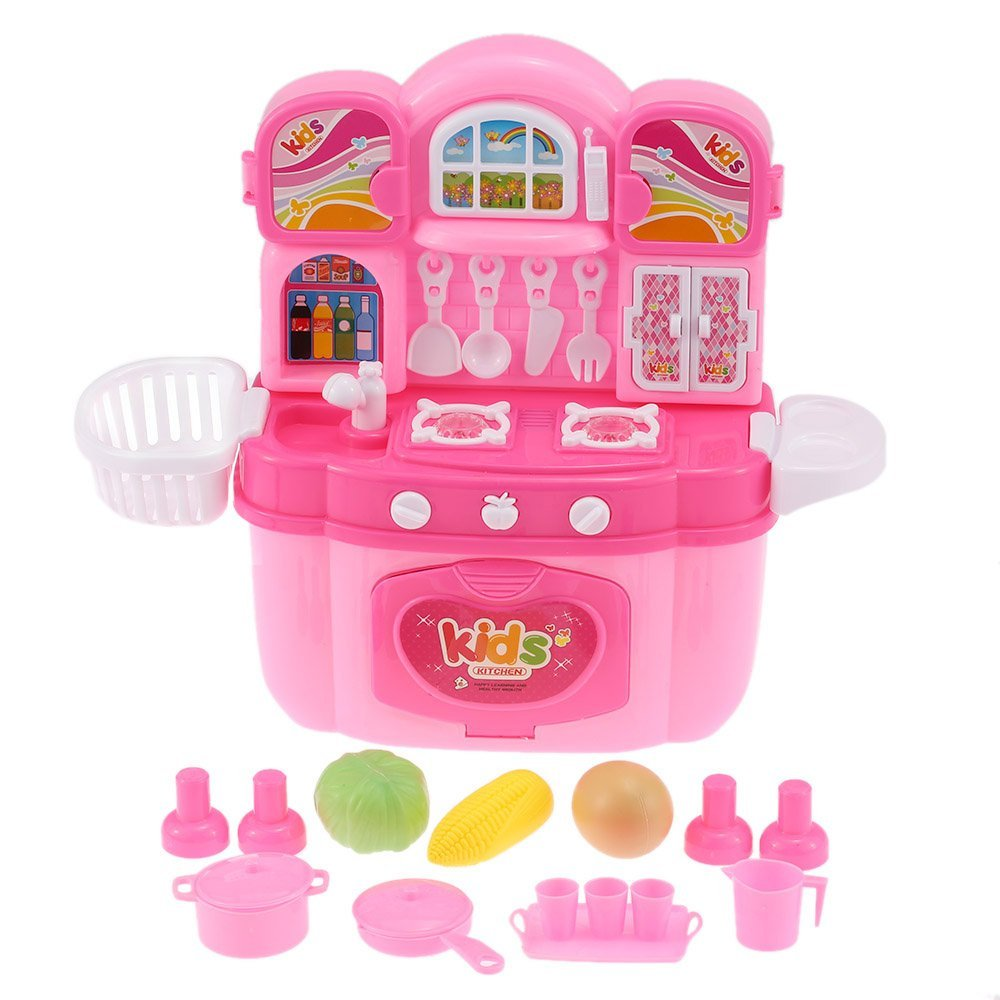 EBOYU(TM) Children Kids Kitchen Cooking Play Toy Set Cabinet Play House Flashing Lights  ...