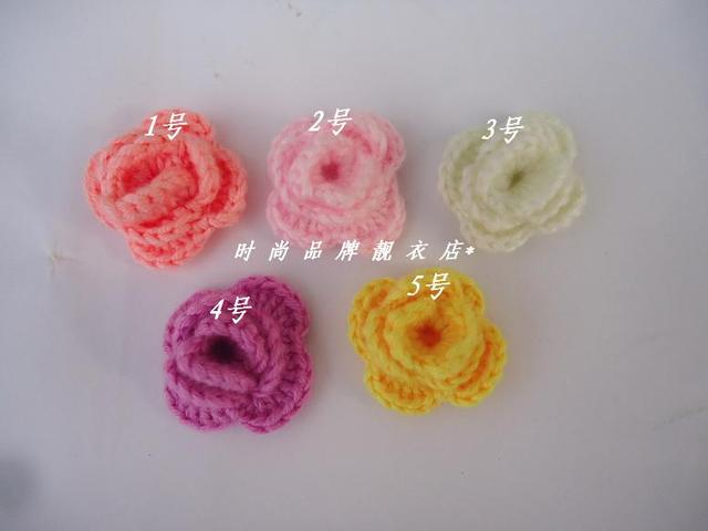 Handwoven Pattern Child Hair Accessory Knitting Flower Baby Hair