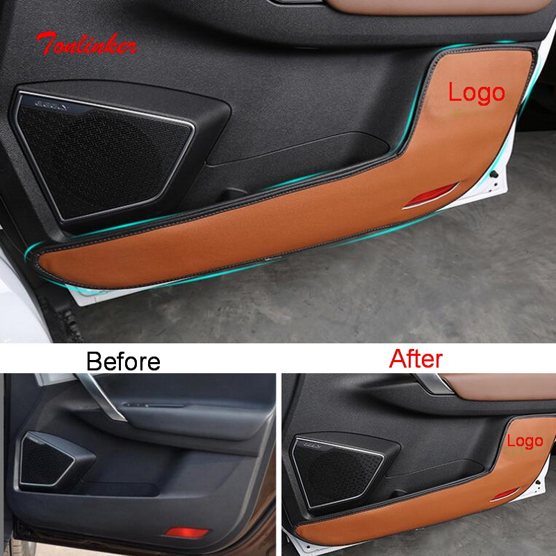 Tonlinker Interior Car Door Anti-dirty Pad Cover Stickers For Geely Atlas 2016-19 Car Styling 4 PCS PU Leather Covers Sticker