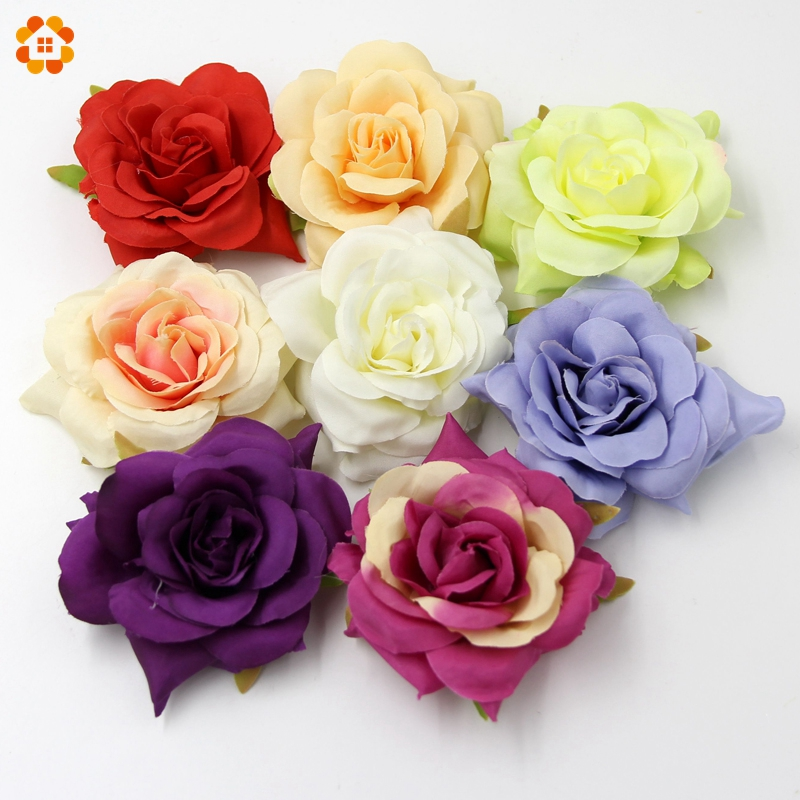 5 UNIDS Alta Calidad Rose Cabeza de Flores de Seda Flores Artificiales Para El H