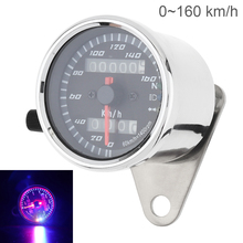 Motorcycle Speedometer 12V Metal Case Vintage Double Mileage Odometer backlight indicator for Motorbike