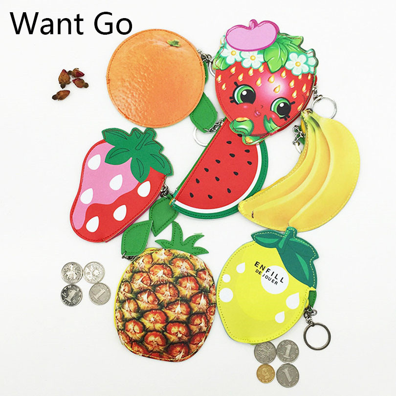 Want Go Fashion Fruit Cartoon Coin Purse Children Pu Leather Coin Pouches Bag 3D Kawaii Mini Kids Change Wallet Purse Clutch Bag cartoon cosmetics bag pokemon go gravity purse bag received wallet makeup pencil pen case bag zelda pokemon ball purse bag wt004