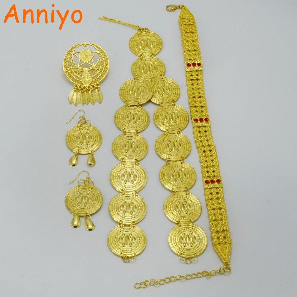 NAnniyo Ethiopian Habesha Jewelry set Chokers Necklace Earrings