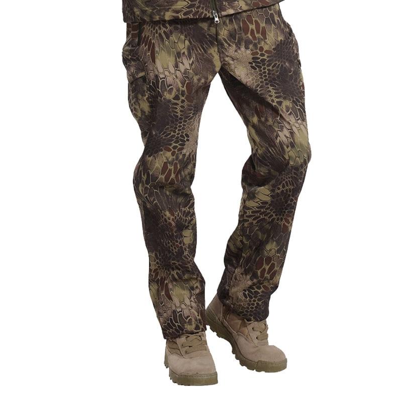 Men's Winter Shark Skin Soft Shell Tactical Military Camouflage Long Pants Windproof Waterproof Warm Camo Army Fleece Pants 3XL