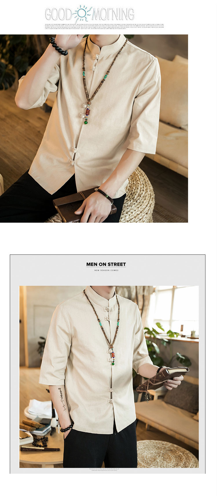 Chinese style summer fashion man's Pure color linen Short sleeve shirt high-grade male comfortable slim fit leisure shirt M-5XL 47