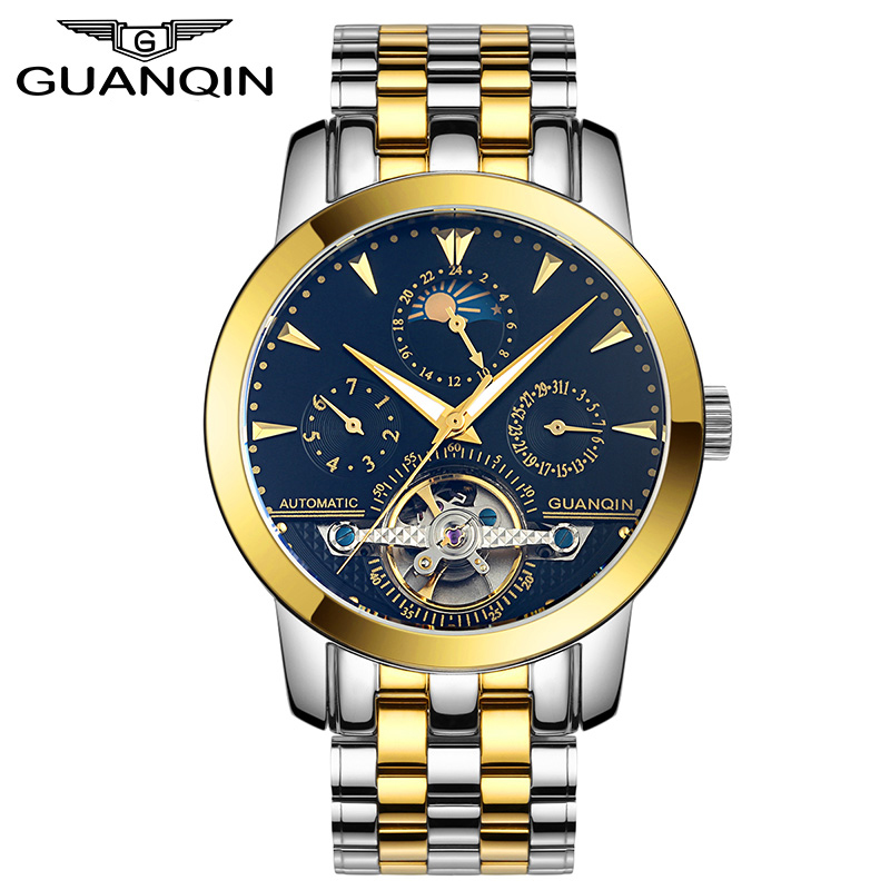 GUANQIN GQ10028 Luxury Watches Tourbillon Automatic Mechanical Leather Watch Men Sport Date Luminous Clock reloj hombre guanqin gq10028 luxury men s watches tourbillon automatic mechanical leather watch men sport date luminous clock reloj hombre