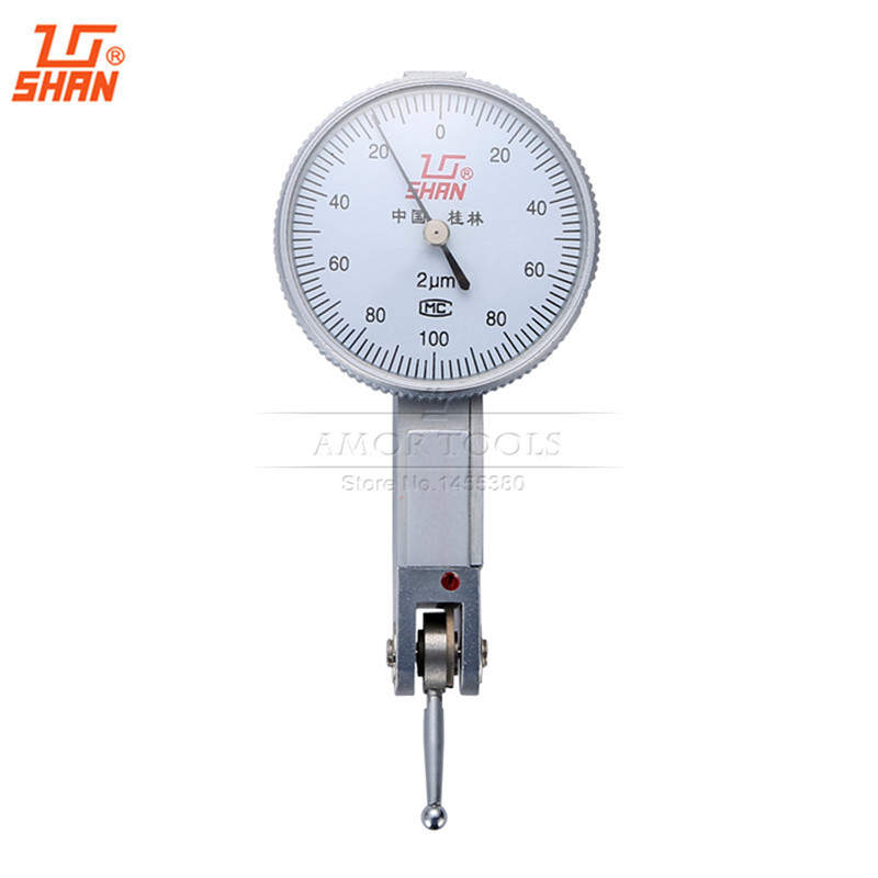 SHAN Micron Dial Test Indicator 0-0.2mm/0.002 Aluminum Body Dial Test Gauge Measuring Tools
