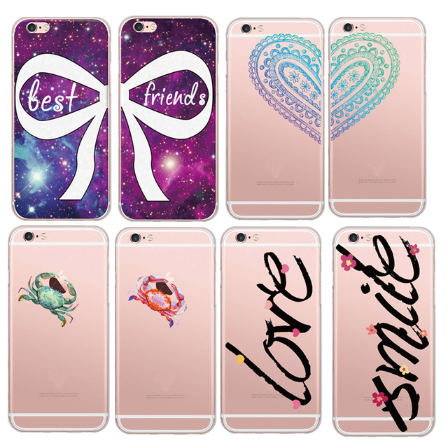 Bow Crab Unique Smile Love Words Paint Soft Tpu Clear Phone Case For Apple Iphone