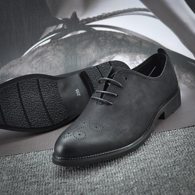 Homem De Casuais Up Preto Bico Fino Suede Vaca 2019 Respiráveis Qualidade Dos Negócios Alta Brogues Sapatos Shoes Novo Apartamentos Homens Lace FqwTSaUx