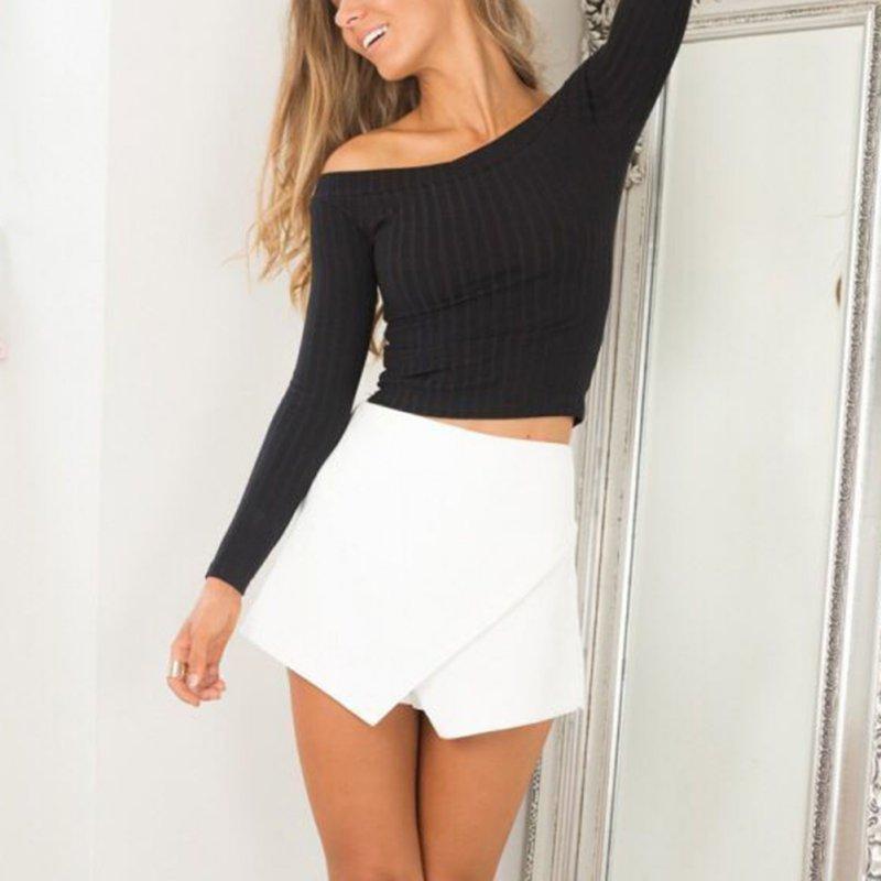 2017 Women Fashion Off Shoulder Korean Cotton T Shirt Casual Long Loose Y09 V2 A8