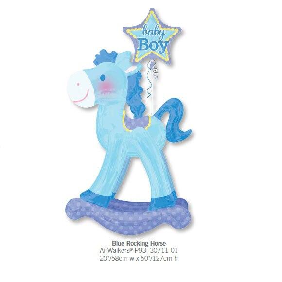 1pcs Anagram Infltable Blue Rocking Horse Shape Foil Balloons