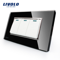 Livolo Manufacturer Luxury Black Crystal Glass Panel 3 Gangs 2 Way Push Button Switch VL C3K3S