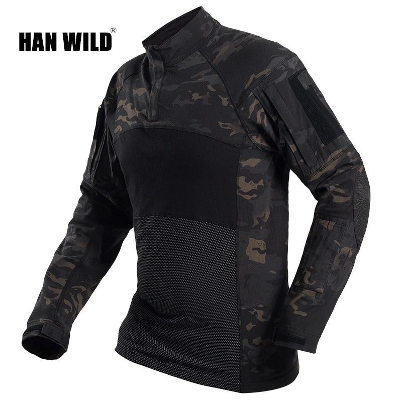 Armée militaire tactique chemise à manches longues Combat chemises séchage rapide hommes à manches longues Camouflage vêtements en plein air randonnée chasse chemise