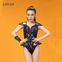 Laser multicolore Tuta Costume Gambe Da Polso Vestito Jazz Performance di Danza Body Donne Stage di Usura di Ballo Vestiti Cantante