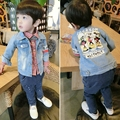 2016 Summer Fashion Children's Boys girl Kids Denim jacket Cartoon Pictures Clothes Travel Long sleeveJacket  Fashion18m-5T