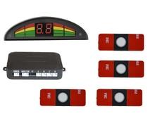 Envío gratis más pequeño 13mm LED Kit de Sensor de Aparcamiento 4 Sensores LED del Revés del coche sistema de Reserva Del Radar Asistencia PDC