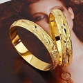 2pcs Classic Carved Bracelet  Yellow Gold Filled Openable Womens Bangle 10mm
