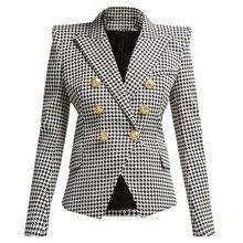 High Quality 2019 New Designer Blazer Women Long Sleeve Metal Lion Buttons Popular Houndstooth Woven Blazer Jacket Runway