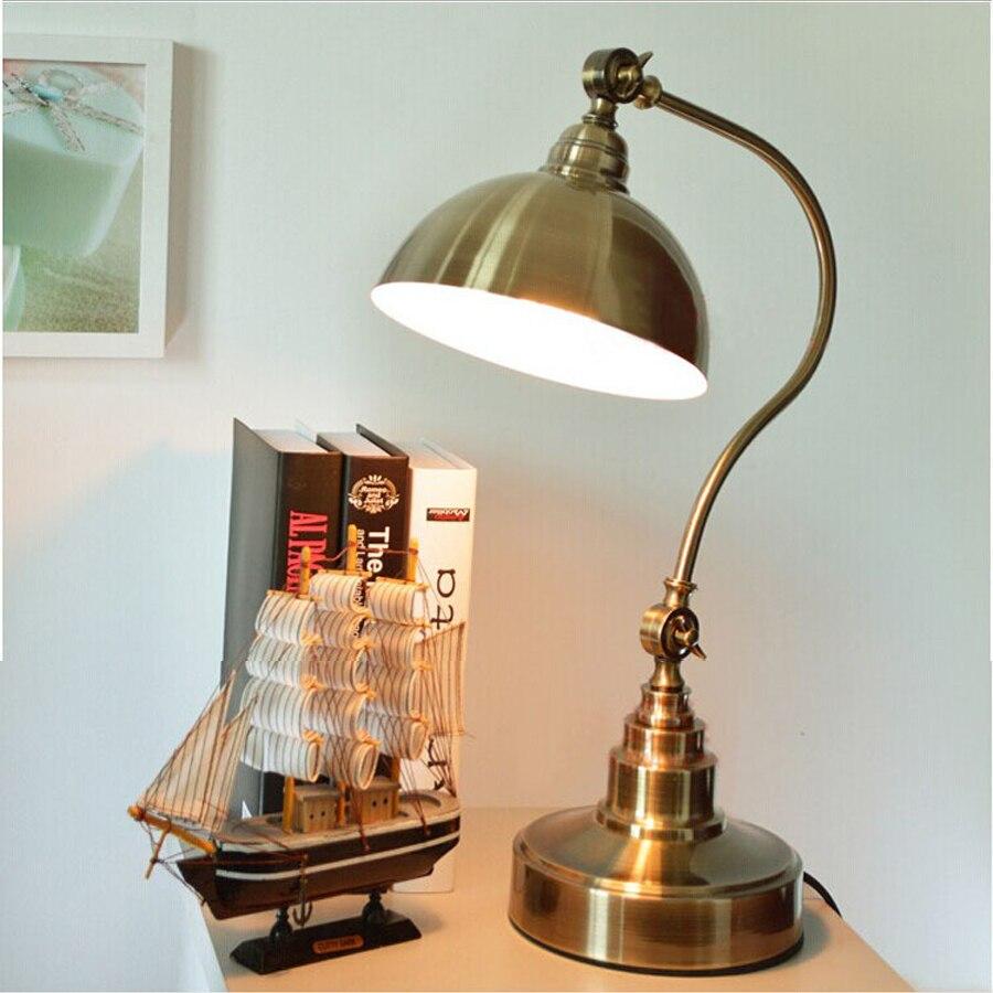 Hot sale American rural retro bronze table lamp creative ...
